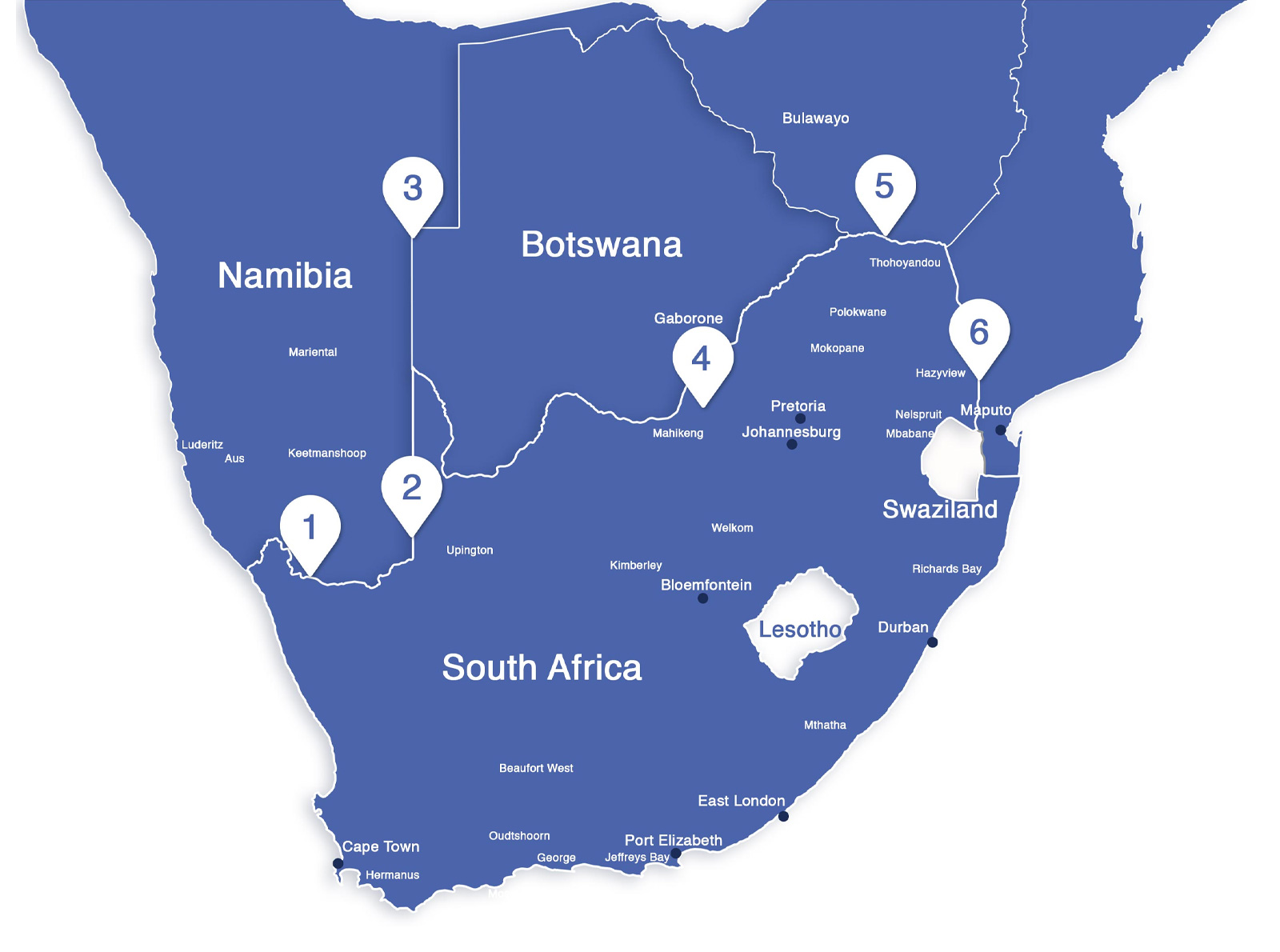 Map of Import & Export across South African Borders